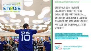 Enedis confie à l'agence de communication événementielle Open Your Com, située dans les Yvelines en Ile de France, son événement à destination des prestataires sécurité pour faire passer les messages sécurité de façon ludique