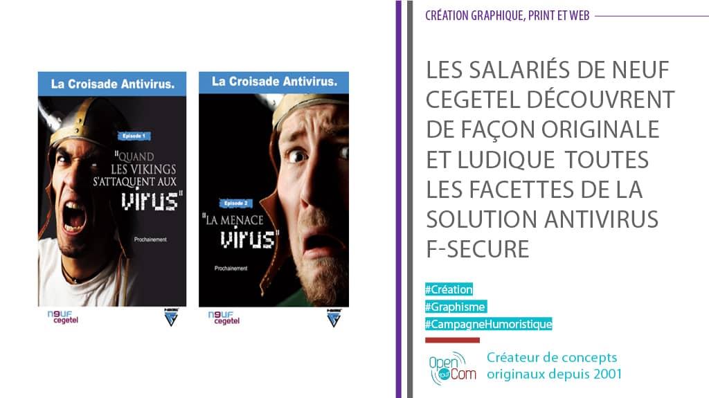 Open Your Com Agence web Publicité Affiche sécurité pour le jeu sur la sécurité informatique pour la formation F-Secure