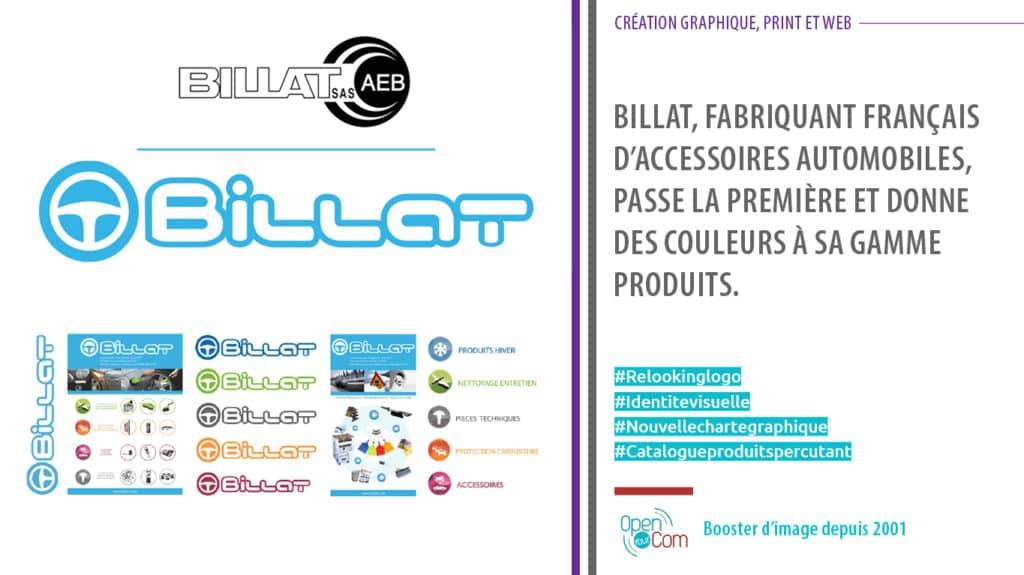 Open Your Com Agence web Publicité Nouveau logo et catalogue produits pour Billat accessoires automobiles