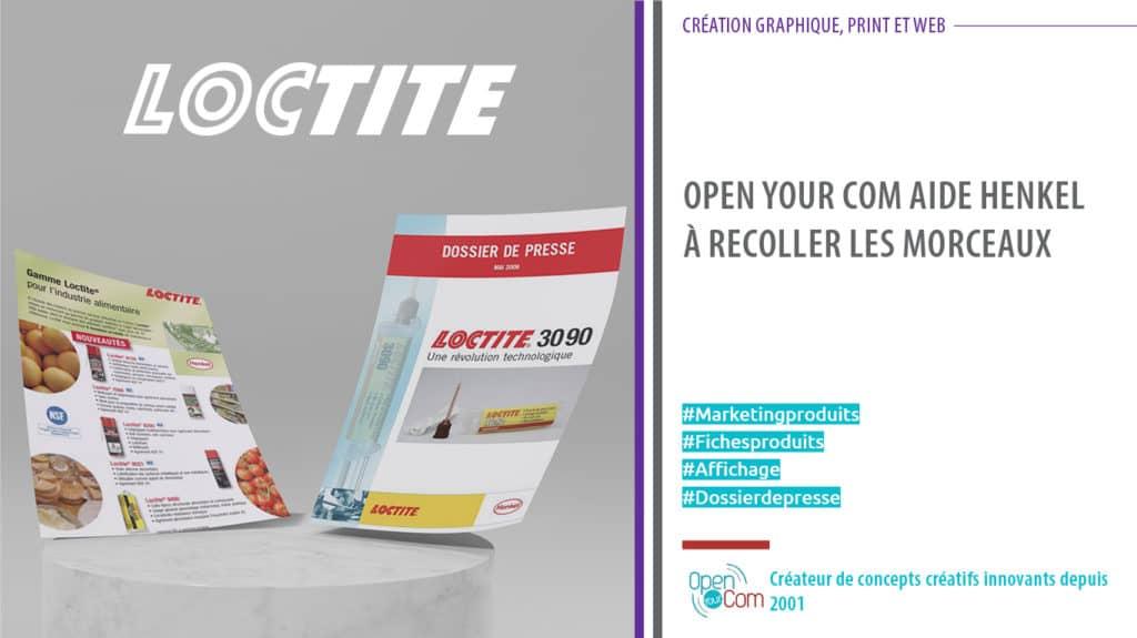 Open Your Com Agence web Publicité création du dossier de presse de Loctite marque du Groupe Henkel