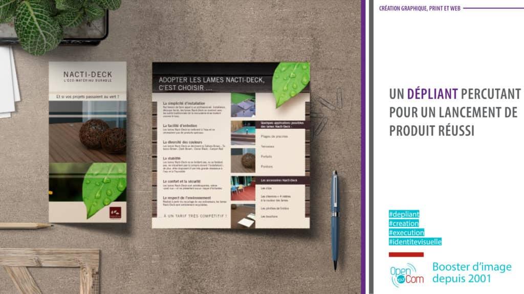 Open Your Com Agence web Publicité réalise le dépliant Nacti Deck