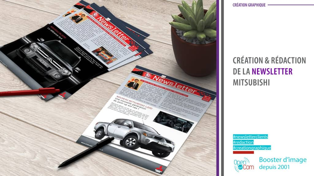 Open Your Com Agence web Publicité Rédaction et création graphique de la newsletter Misubishi