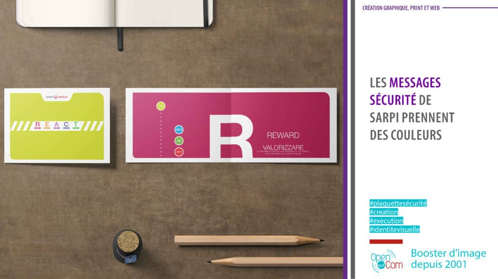 Open Your Com Agence web Publicité création graphique de la plaquette sécurité SARPI du groupe Veolia