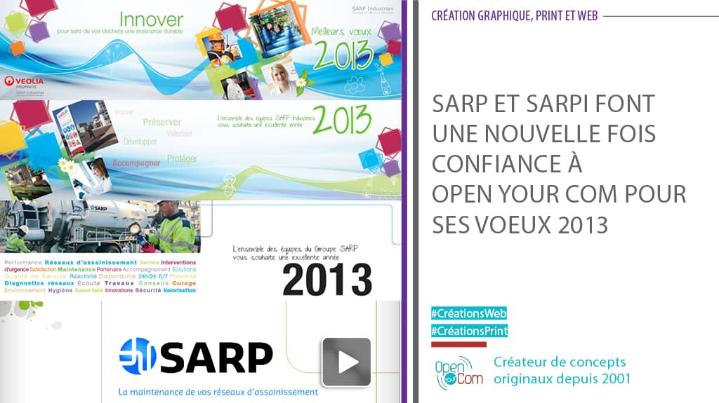 Open Your Com Agence web Publicité création graphique des cartes de voeux de SARP et SARPI du groupe Veolia